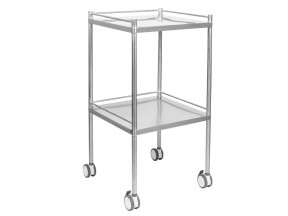 F11110 Dressing Trolley Stainless Steel 2 Shelves with 3 Rails 500 x 500 x 900mm